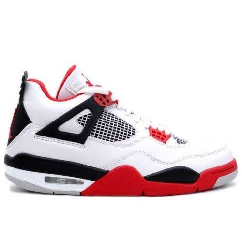 Discount Authentic 136027-110 Mens Nike Air Jordan 4 Retro White/Fire Red-Black