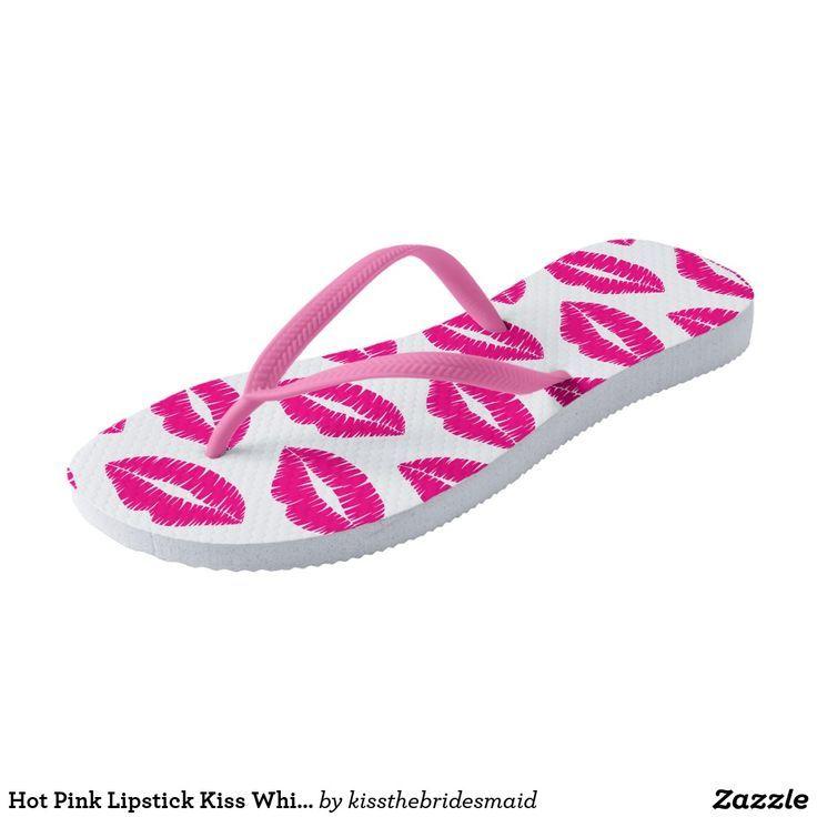 Hot Pink Lipstick Kiss White Flip FlopsPink Strap Flip Flops  Hot Pink Lipstick Kiss White Flip FlopsPink Strap Flip Flops
