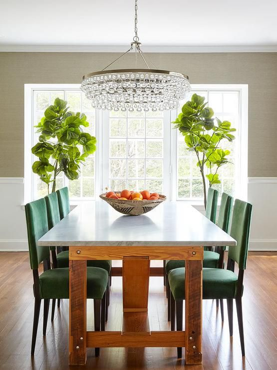 Emerald Green Dining Chairs With Marble Top Table