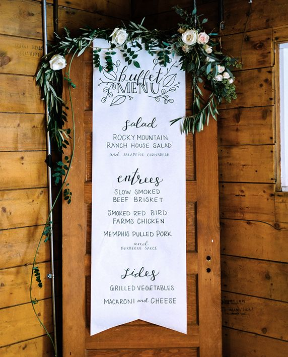 Wedding Buffet Menu Sign Hand Lettered Calligraphy Paper Scroll On Vintage Door With Fl Garland