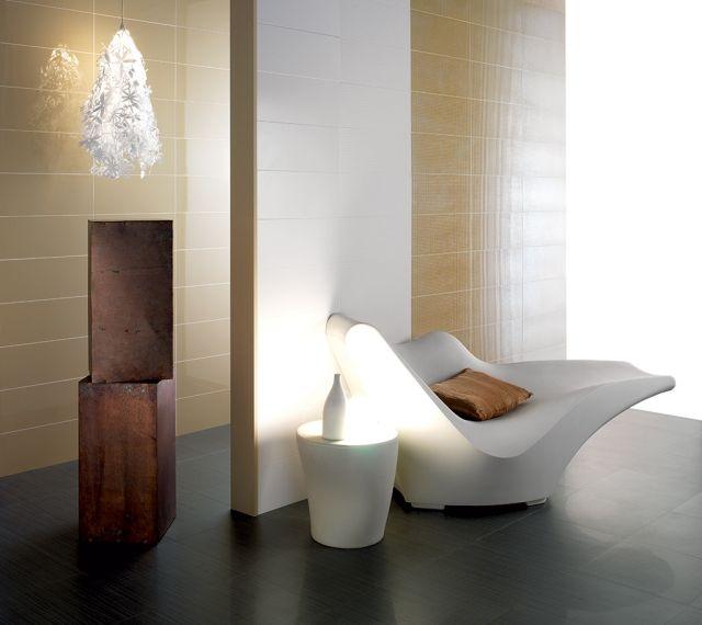 keramik-wandfliesen-bad-ocker-farbe Badezimmer Gestaltungsideen - farbe für badezimmer