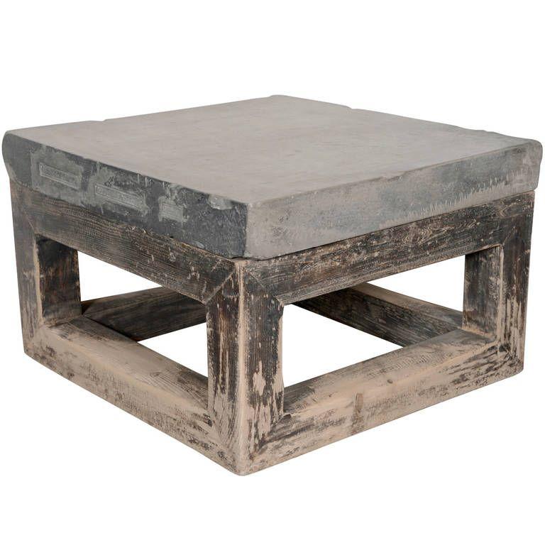 Wabi Sabi Eal Blue Stone Top End Table 1stdibs