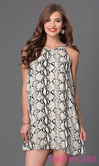 Short Sleeveless Print Shift Dress at PromGirl.com