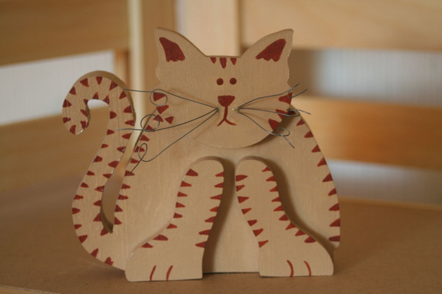 Hand painted wooden fat cat - pinned by pin4etsy.com