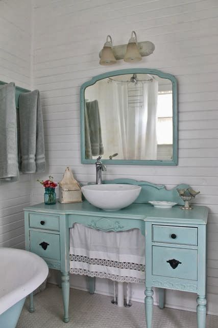 Upcycled dresser to sink
