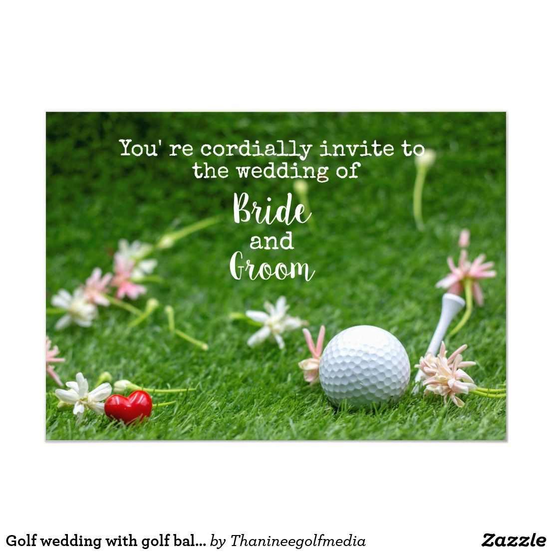 Golf wedding with golf ball and one heart on green