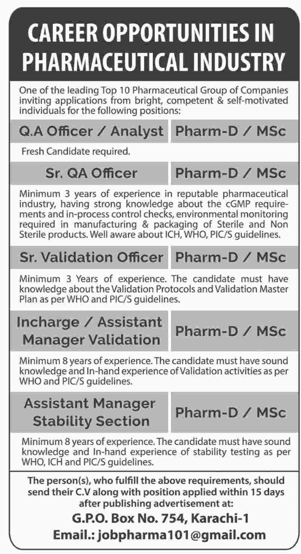 Pharmacist, Quality Assurance Officer, Incharge, Asst