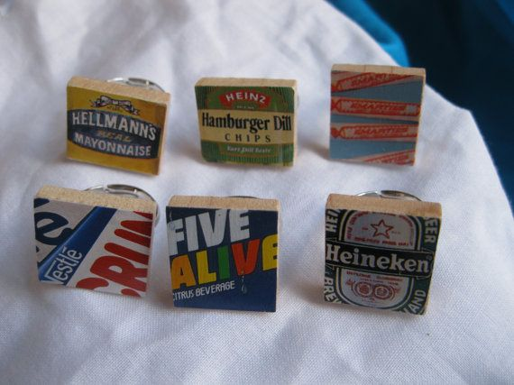 Set of Six Food Label Scrabble Rings by ShopMelissa on Etsy, $12.00