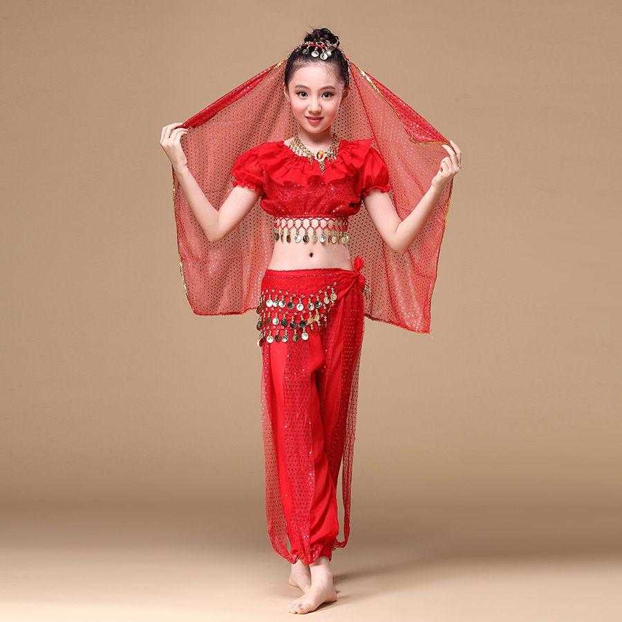 Children Indian Dance 4-piece Costume Set Bollywood Dance Costumes for Girls ffe699fecc7c