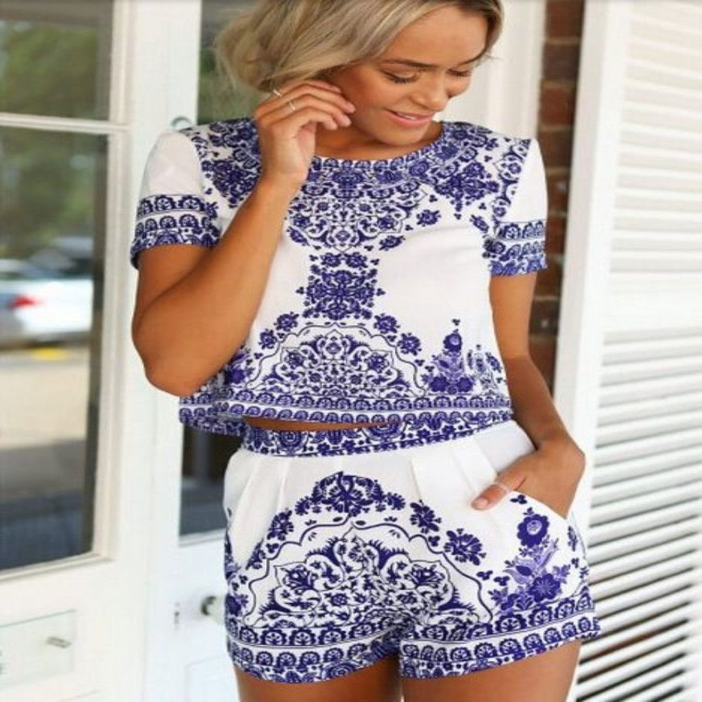 Hot tapestry print two piece top short set shorts dress suits