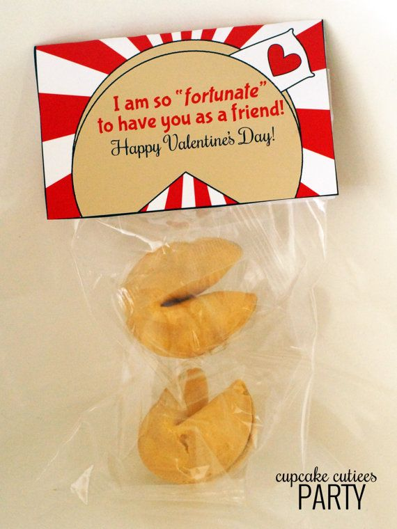 Fortune Cookie  Valentine Fold over by CupcakeCutieesParty on Etsy, $3.50