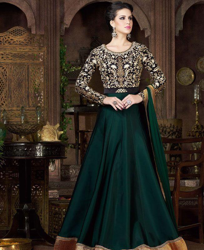buy well formed green & black wedding salwar kameez online