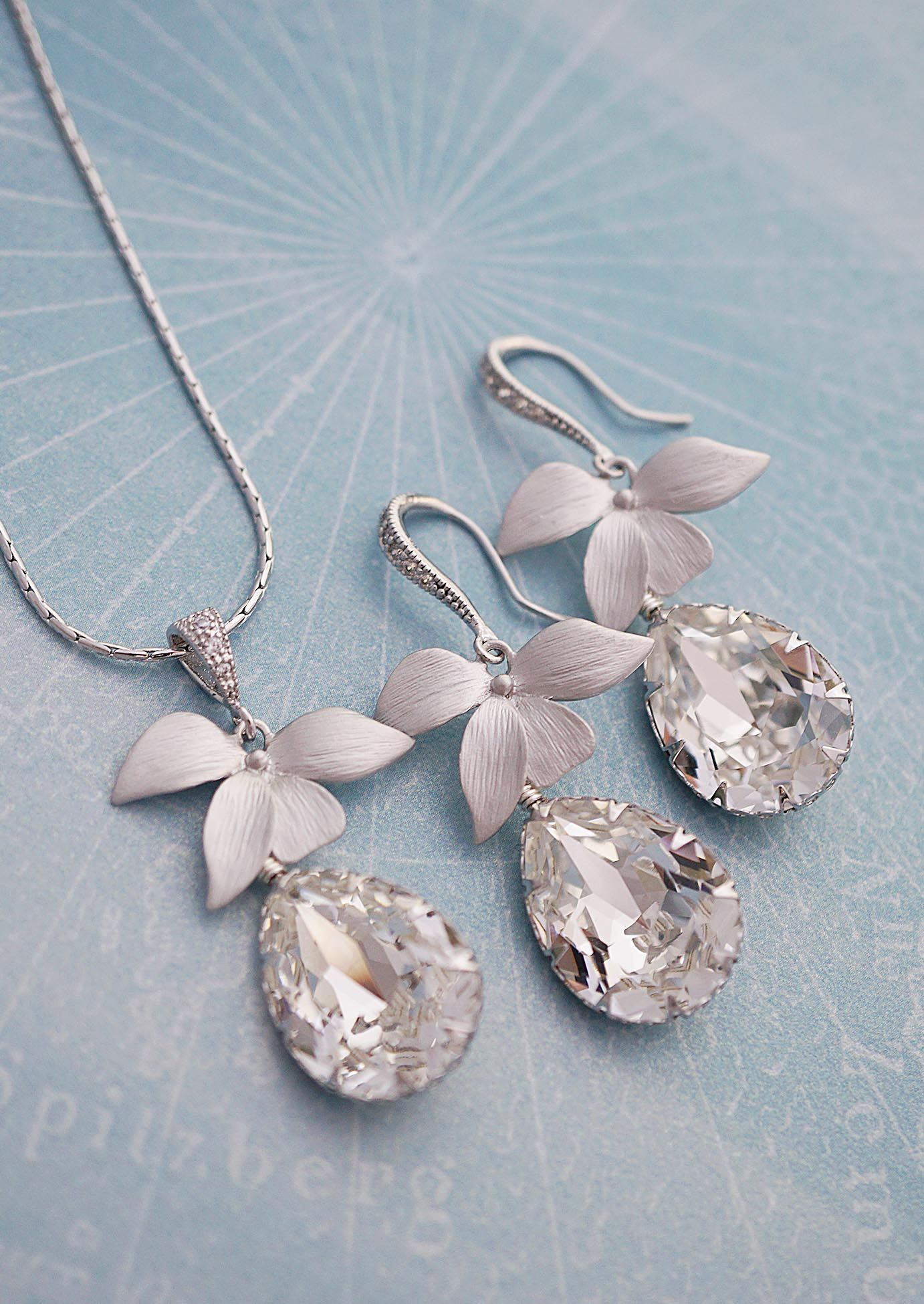 1faed9559 ... Earrings Nation. Elegant Floral Bridal Jewelry Set with Swarovski  Crystals from EarringsNation Garden wedding beach wedding floral bridal