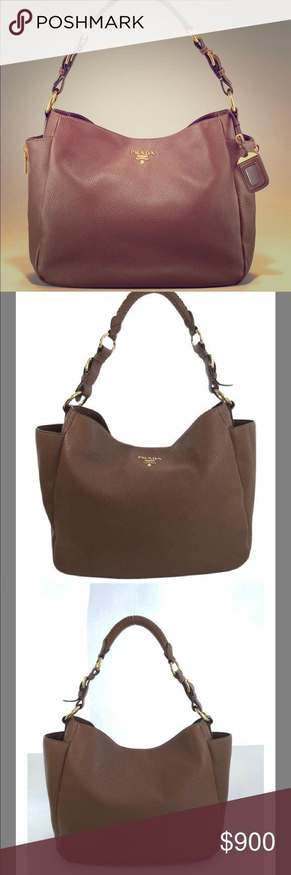 2754848f7d49 PRADA Diano Vitelo Pebbled Leather Hobo bag Gorgeous preowned bag. 100%  Authentic. Pebbled