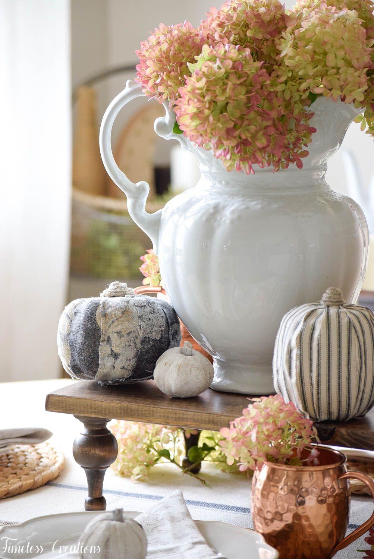 A Fall Hydrangea Tablescape Coffee table makeover, Fall