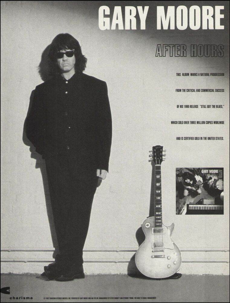 Gary Moore 1992 After Hours Ad 8 X 11 Advertisement Print Ready To Frame Gary After Hours Japan Music