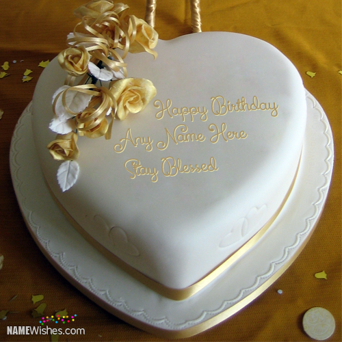 Sensational Golden Heart Birthday Cake With Name With Images Cake Name Personalised Birthday Cards Paralily Jamesorg