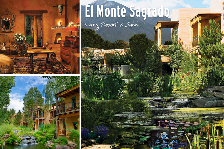 Meet El Monte Sagrado Living Resort & Spa in Taos New Mexico. Serene, romantic, luxurious. This is the perfect idea for a honeymoon destination! Hit the slopes in the morning, and then relax at the amazing spa and hot springs. Check out more unique, luxury honeymoon destination ideas here. https://www.pinterest.com/VisitNewMexico/the-ultimate-new-mexico-luxury-honeymoon-destinati/