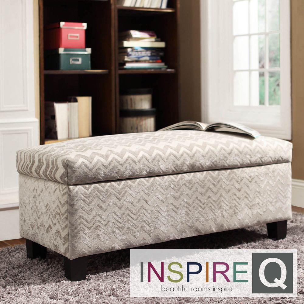 Inspire Q Kayla Hip Chevron Stripe Fabric Storage Bench Ottoman |  Overstock.com Shopping -