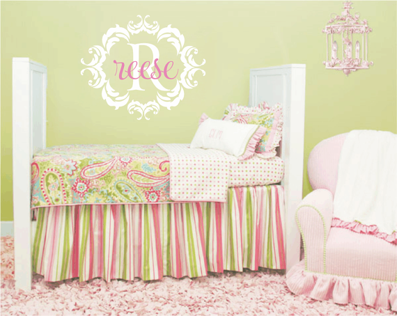 Name and Initial Vinyl Wall Decal Shabby Chic Damask Border ...