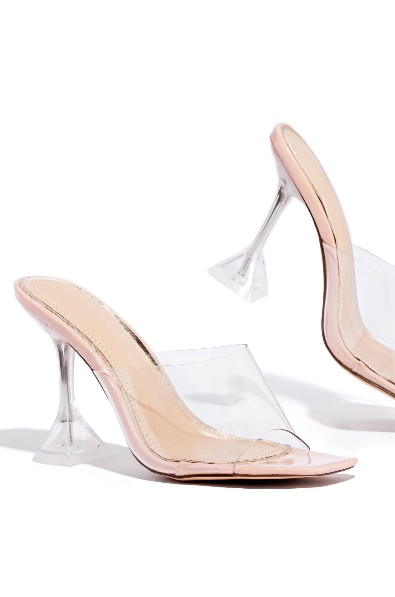 Clear Martini Heel Mule Heels Elsa Shoes Clear Heels