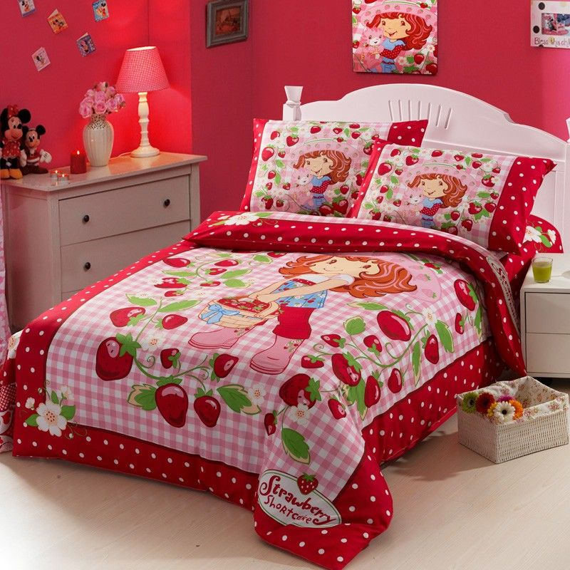 Strawberry Doll Red Kids Duvet Cover Bedding Sets