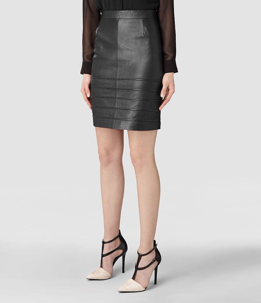 Pipe Leather Pencil Skirt