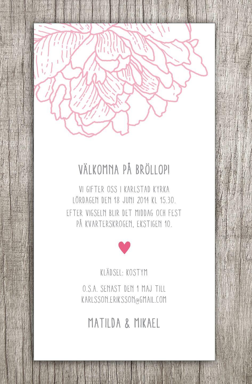 Photo of Hochzeitseinladungskarte Pfingstrose # Hochzeitseinladung # Einladung …