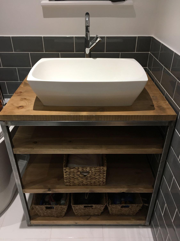 Industrial Style Bathroom Basin Vanity Unit Cabinet Wood Bathroom Vanity Modern Bathroom Vanity Wood Vanity