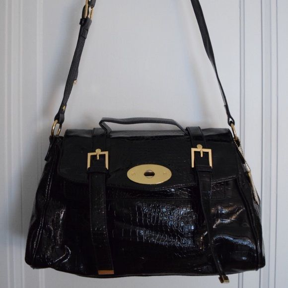 Nine West Black Patent Leather Purse Alexa Bag Style By