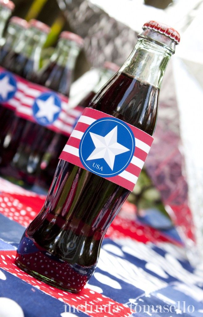 free printable for coke bottles ... looks Captain America' ish to me :)