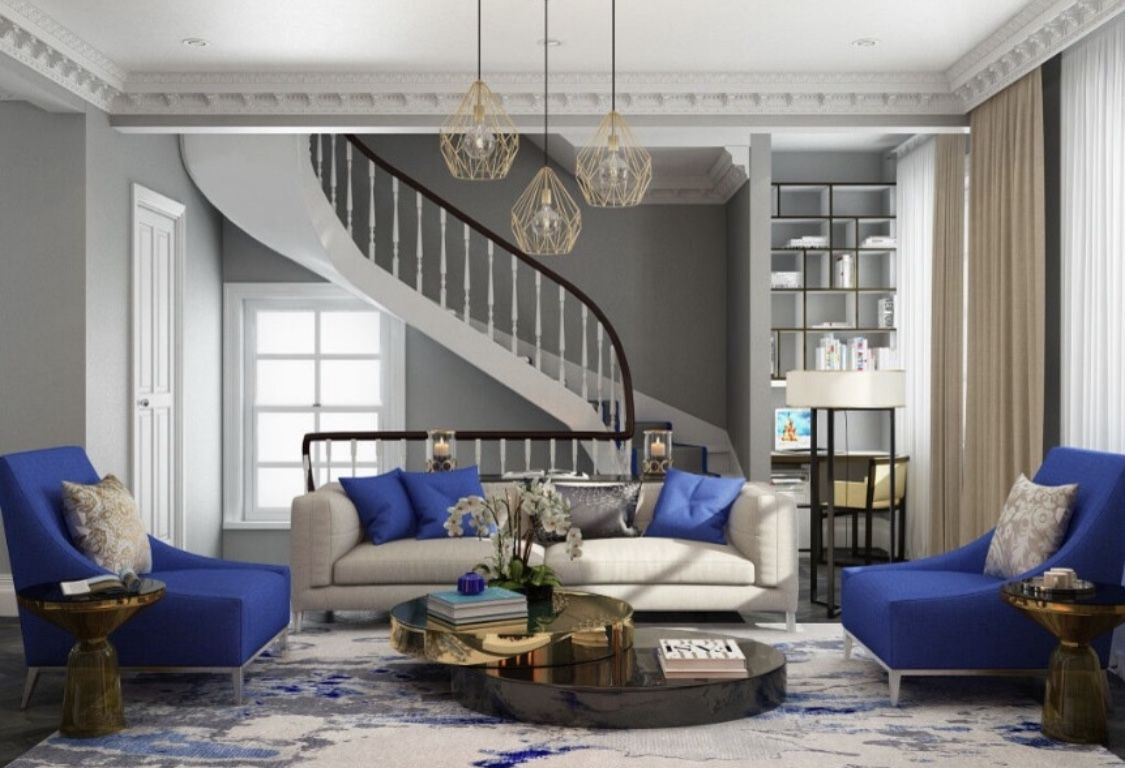 Royal Blue Tufted Sofa Elegant Living Room Elegant Living Room Furniture Elegant Living Room Decor Elegant Living Room