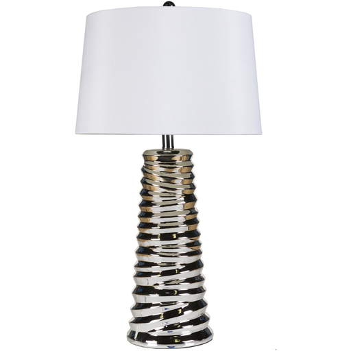 A Chrome Plated Metal Organic Table Lamp With A Class White Shade From Surya Lmp 1000 Table Lamp Decorative Table Lamps Lamp