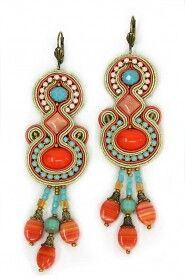 Soutache earrings in southwestern colors.