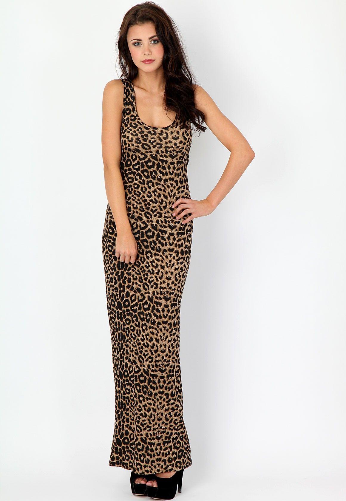 3550d9cec26 Frilla Racer Back Leopard Print Maxi Dress