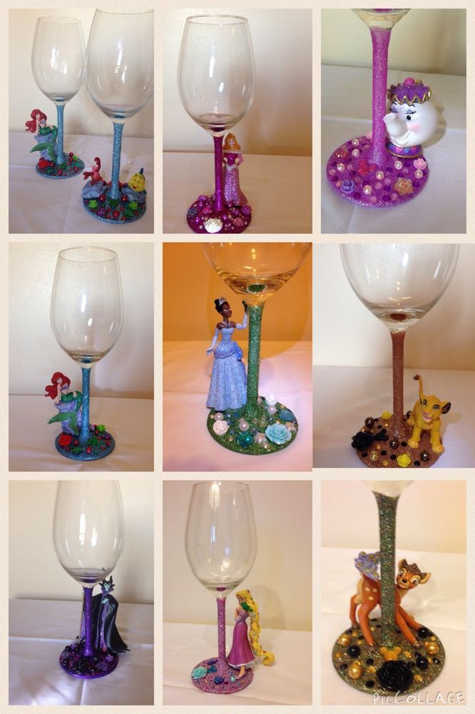 177f3b8c44 Handmade Disney Character Wine Glass