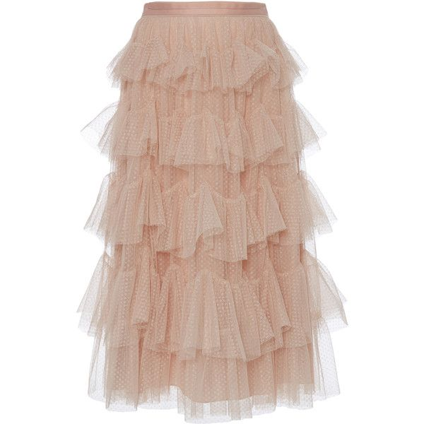 5bfd5d918d165d Needle & Thread Scallop Tulle Midi Skirt ($275) ❤ liked on Polyvore  featuring skirts, pink, beige a line skirt, midi skirts, a line skirt,  mid-calf skirts ...
