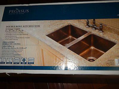Pegasus antique copper double bowl kitchen sink, new, dual mount ...