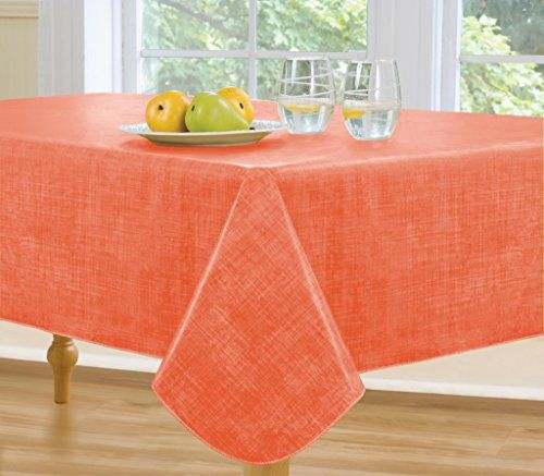 Monterey Flannel Backed Vinyl Tablecloth Indoor Outdoor 60 Inch By 120 Inch Oblong Rectangle Coral Luxury Tabletop Decorative Tabletop Tabletop Accessories