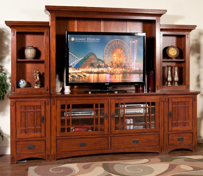 Sunny designs route 66 entertainment center furniture entertainment center craftsman style Design plans for entertainment center
