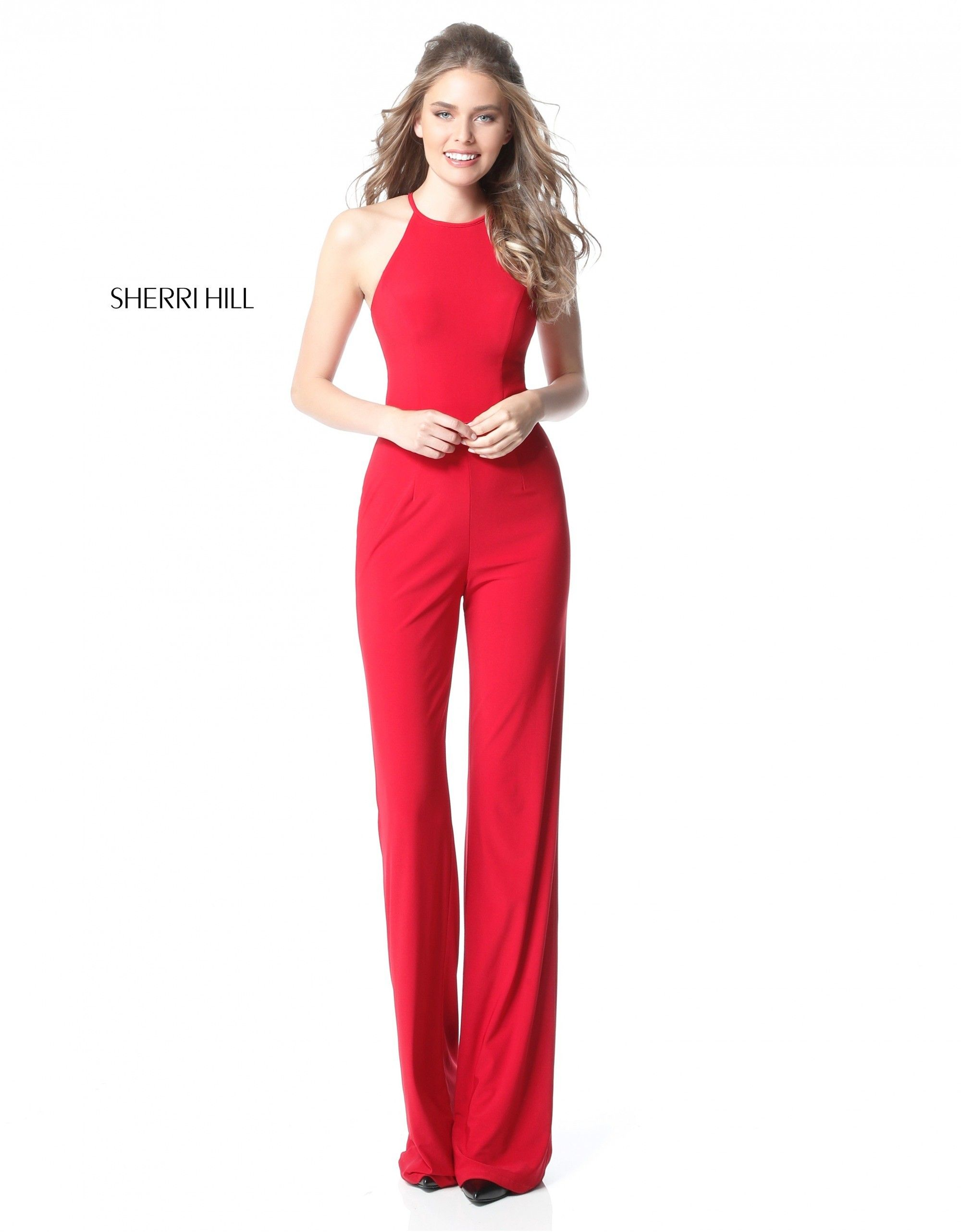 0009b8a903e This sophisticated jersey jumpsuit has a high halter neckline