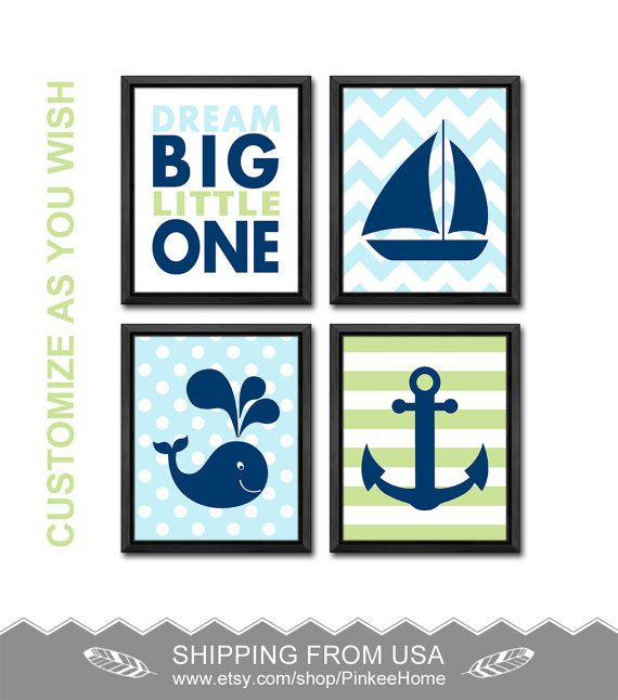Nautical Nursery Wall Decor nautical baby boys room decor whale sailboat anchor baby wall