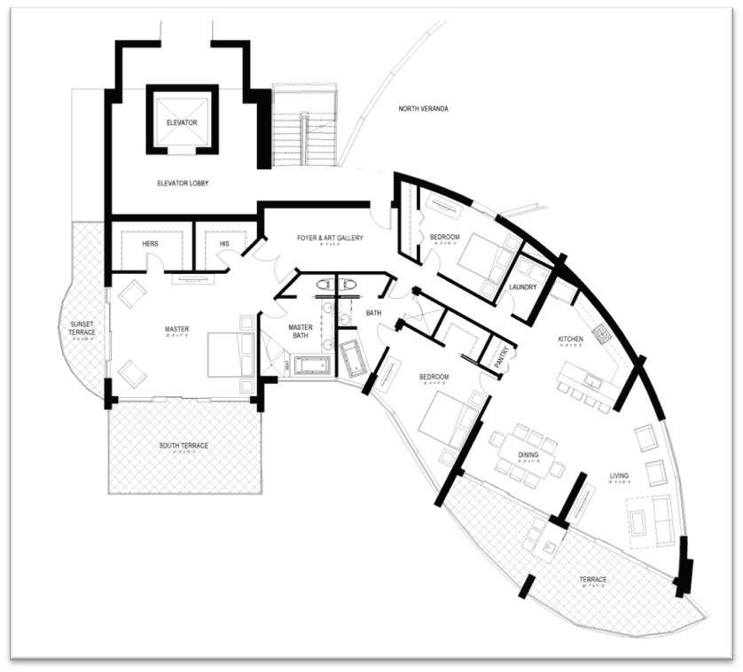 Pierhead Hotel Bridgetown, Bardados Penthouse Floorplan