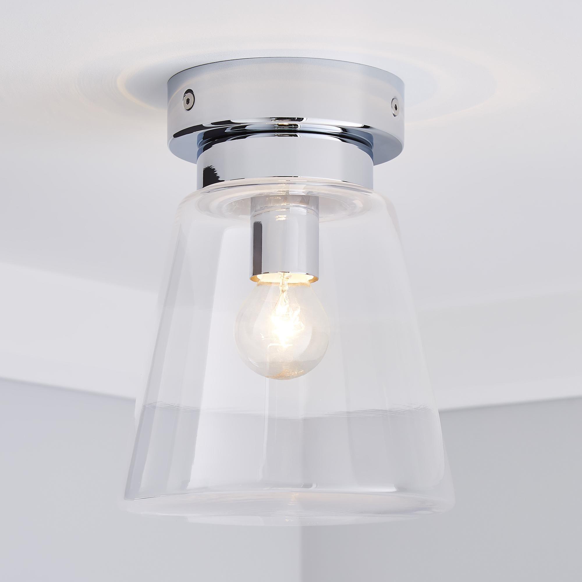 Dunelm Silver Delavin Bathroom Glass Flush Light Fitting In 2020 Flush Lighting Glass Bathroom Light Fittings