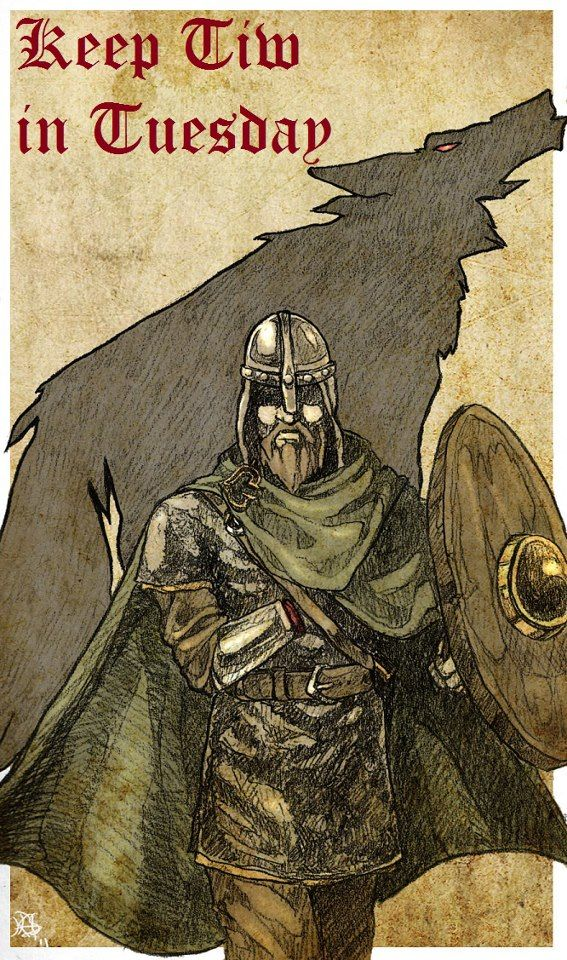 """The Northern Grove Týr is the god of Law, the althing, Justice, The Sky, and heroic glory in Norse mythology, portrayed as a one-handed man. Corresponding names in other Germanic languages are Gothic Teiws, Old English Tīw and Old High German Ziu and Cyo, all from Proto-Germanic *Tîwaz. The Latinised name is Tius or Tio. The English name Tuesday is derived from Old English Tiwesdæg and Middle English Tewesday, meaning """"Tīw's Day"""", the day of Tiw or Týr. art by maverikelf.deviantart.com"""