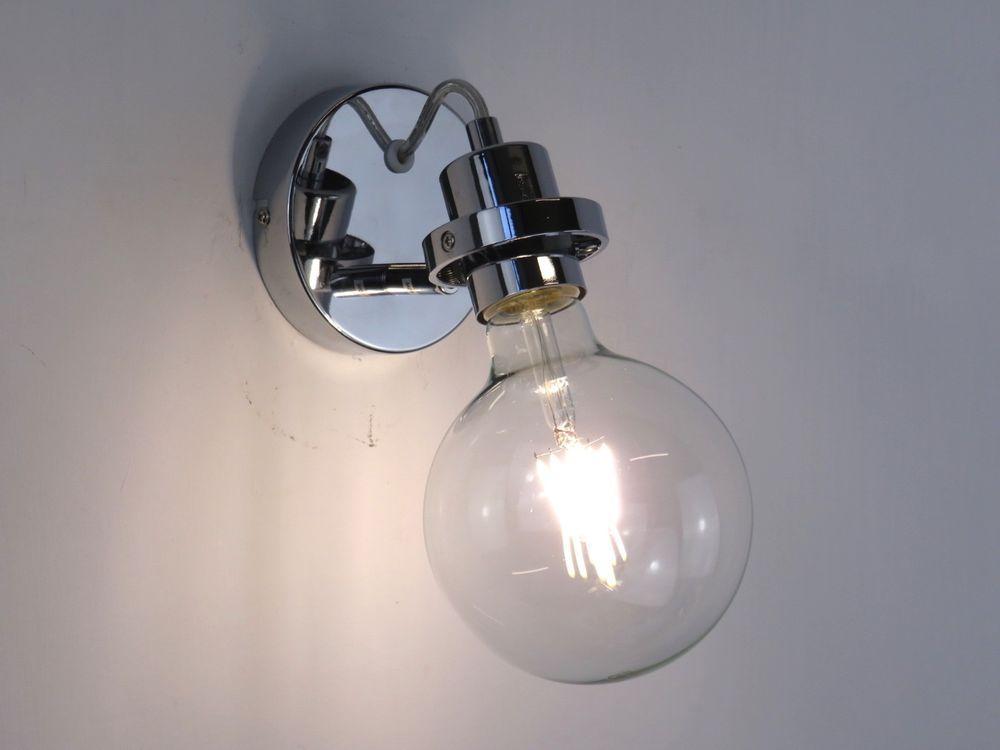 Lampada da parete applique moderno cromato lucido filo trasparente