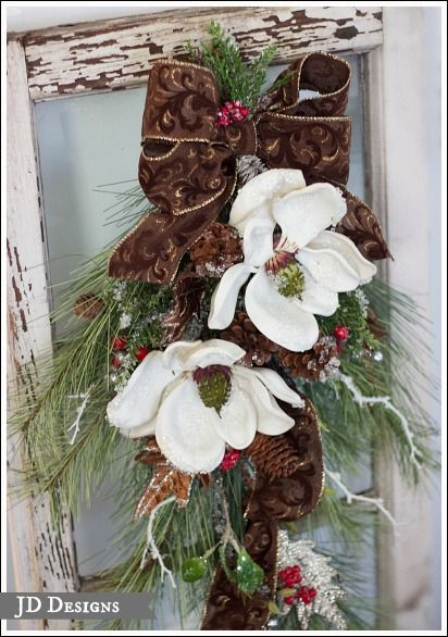 christmas door swag with magnolias christmas decorations seasonal holiday decor i added brown and gold ribbon to this pine swag
