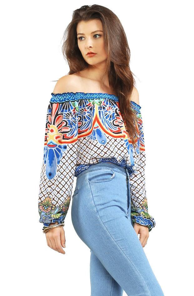 """Island Dreaming Off Shoulder Top  Light chiffon off the shoulder top with tropic prints. Cropped fit with elastic fitting across the top, bottom and on the sleeve cuff.  *Hand Wash Cold *100% Polyester *13""""/33cm - Measured on a size S (Model is wearing a size S) *Imported"""