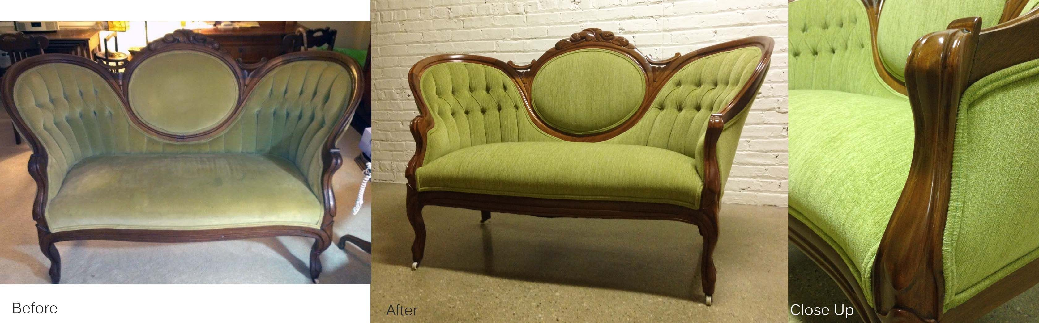 We refinished the wood, repaired the suspension, added new foam, and reupholstered in a beautiful soft green fabric.