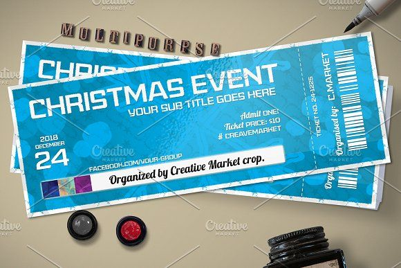 Christmas Event Ticket Template by Tzochko on @creativemarket